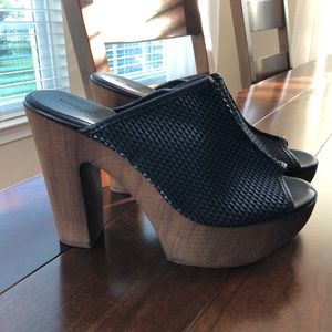 Charles David Black Perforated Leather Chunky Heel